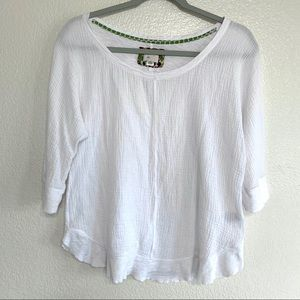 Postmark Anthropologie White Cotton Crinkle Top